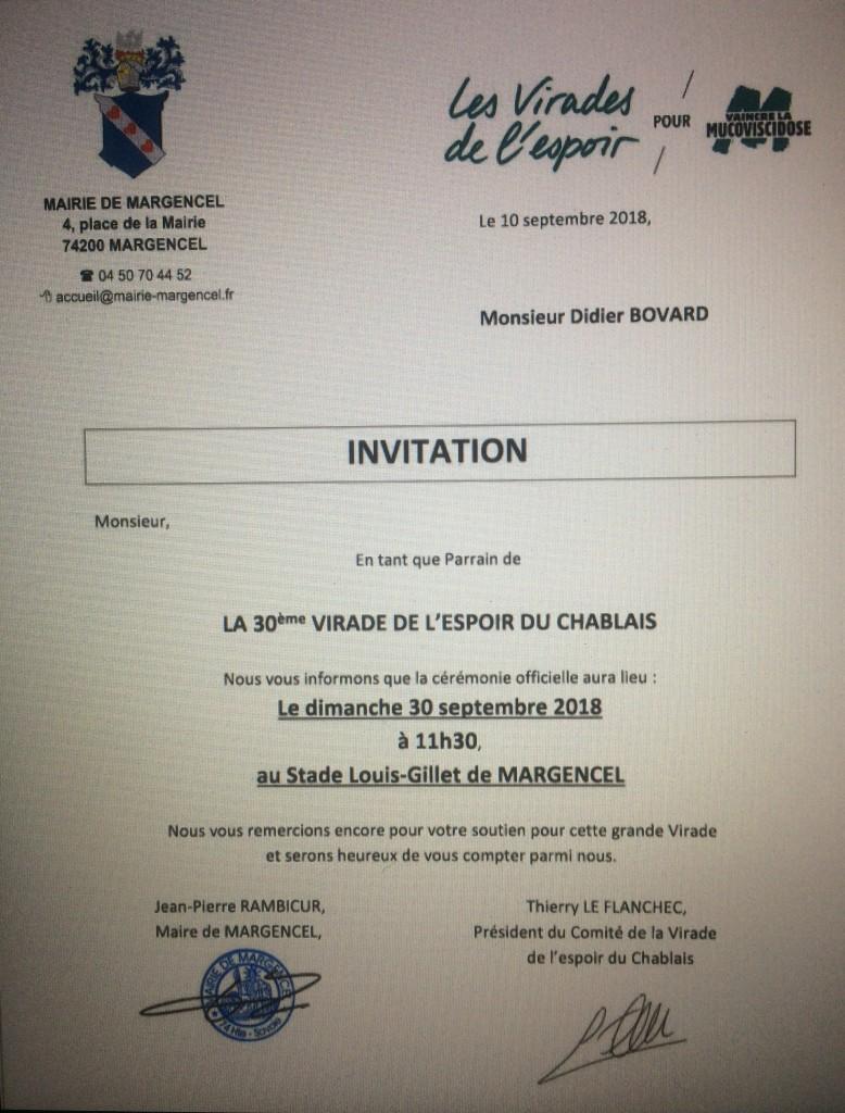 Ce dimanche 30 septembre, j'ai l'honneur pour la troisième fois d'être un des Parrains de la Virade de l'Espoir qui se tiendra à Margencel. Venez nombreux.