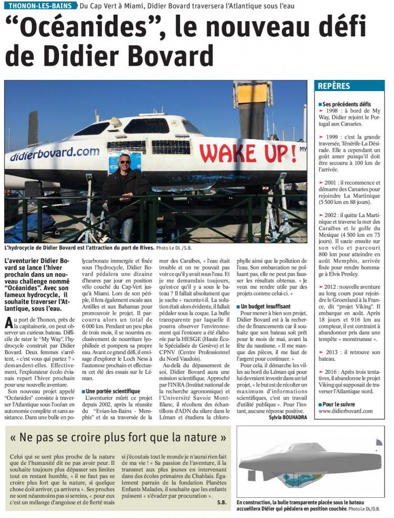 Article dans le Dauphiné Libéré du 12 février.
