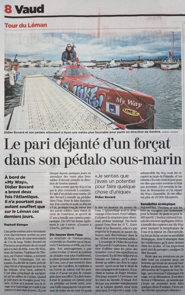 Article du 24 heures reprit dans la Tribune de Genève.