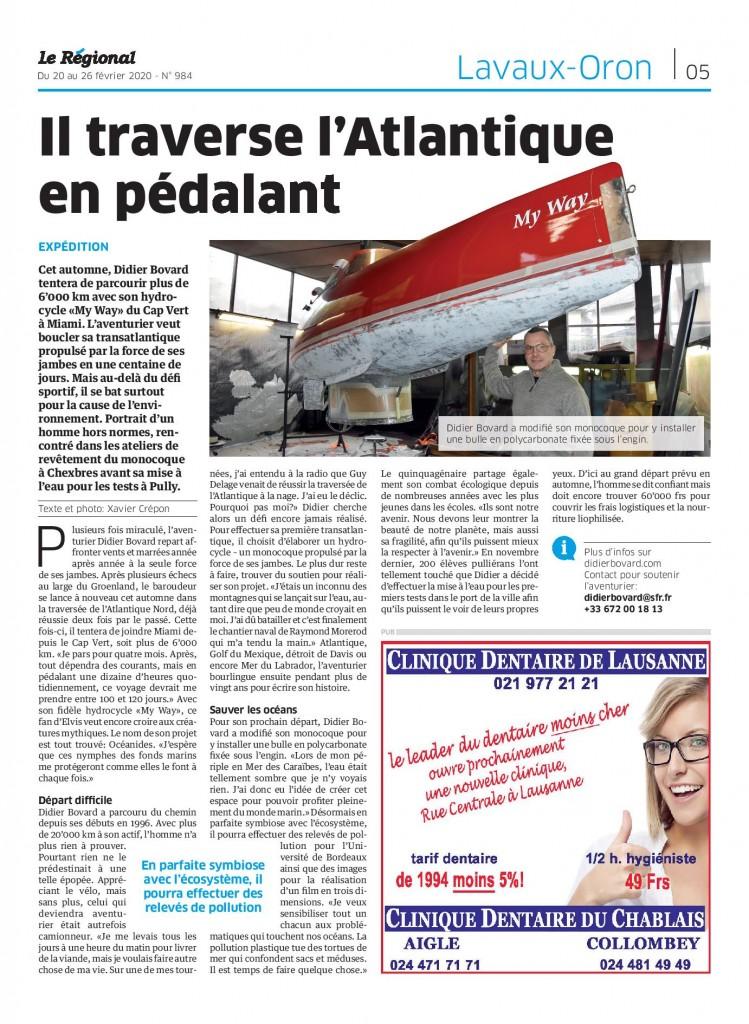 Article en Suisse dans Le Régional.